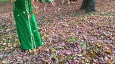 reife frauen : Beautiful happy woman in green dress and gathers them up. Golden autumn concept. Outdoors