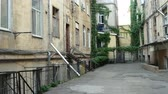 yards : Cozy narrow courtyard of Odessa in Ukraine. Stock Footage