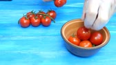 lagrima : Human hands pick cherry tomatoes off the branches that lie on a blue wooden table and put them in a ceramic bowl.