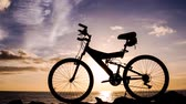 Video of a Mountain Bike Silhouette at Sunset Stock Footage