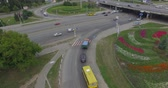 yanan : Aerial View Of Highway Road Junction In A Green City The Rapid Movement Of Car