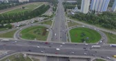 yanan : Rush Hour Aerial View Shanghai Intersection Elevated Highway Car Move Traffic Stok Video