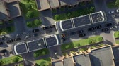 Urban traffic of the future. Top view. 3d animation. 4K