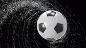 Soccer ball emitting whirl of water drops, with rgb mask, 4k 3d animation Стоковые видеозаписи
