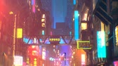 Sci fi futuristic city at night with aerial city traffic and peoples Стоковые видеозаписи