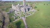 t��o : Aerial view of an Irish public free tourist landmark, Quin Abbey, County clare, Ireland. Aerial landscape view of this beautiful ancient celtic historical architecture in county clare ireland.