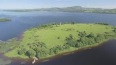 celta : Aerial birds eye view Holy Island off the western shore of Lough Derg in Ireland. Now uninhabited, it was once a monastic settlement.