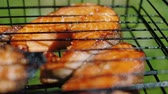marináda : Golden trout baked steaks frying at charcoal grill. Salmon red fish on barbecue, smoke through grill, slow motion, close up