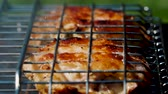 molho de carne : Golden delicious chicken pieces frying on barbecue grill. Prepare tasty and marinated fresh meat on charcoal bbq grill. Outdoor summer party ideas. Vídeos