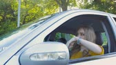 magyarázza : The girl in the car is stuck in the traffic of cars and can not get to work Stock mozgókép