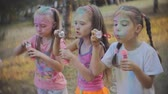 varinha : Group of kids playing together blowing bubbles having fun in a park, slow motion