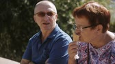 вафля : Elderly couple sitting on the promenade eating ice cream and talking. Elderly loving couple talking, and eating some ice cream cones. Стоковые видеозаписи