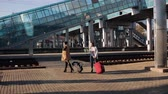 roll on bag : Two women on the platform of the railway station waiting for the arrival of the train Stock Footage
