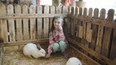 заяц : Little girl in a petting zoo in the aviary with rabbits.