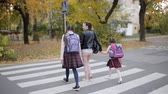 Mother with her daughters in the fall go home after school and cross the road at a crosswalk.