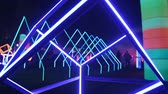 кубики : Abstract neon glowing shapes as the nightclub decoration outdoors. Стоковые видеозаписи
