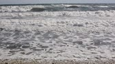 Крит : waves on the beach in greece. Mediterranean Sea Стоковые видеозаписи
