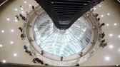 yönetme : People look at the hall of parliament inside of the Bundestag cupola in Berlin, Germany Stok Video
