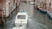 setembro : VENICE, ITALY - Sep 2013: Boat floats on the channel  in Venice on 25th September, 2013 in Venice, Italy