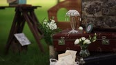 banquete : stylish wedding decor for staging the shooting. Stock Footage