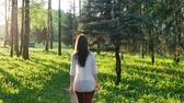 романтический : Woman walking in the forest at sunset. Slow motion