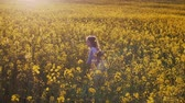 parente : Little girl and boy in a field at sunset. Slow mo Stock Footage