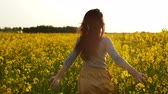 wish : girl runs arms outstretched through a field slowmo Stock Footage