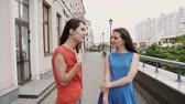 elegância : Two beautiful girls best friends met at the city after shopping, talking, smiling