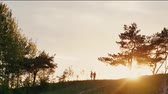 sombra : Couple walking on a hill holding hands at beautiful sunset in nature. Sun rays shine. Natural landscape, trees. Slow mo