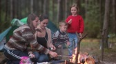 кондитерские изделия : People rest in the nature. Two young women cook marshmallows on open fire in forest. Two kids helping them and eating