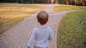 sky : A cute little boy walking on a road in a park on a sunny summer day. Back view, slow mo