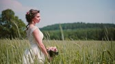 розы : Beautiful bride standing in a wheat field in a pretty white wedding dress in summertime. Wind blows her hair and cones.