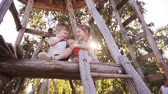 игривый : Beautiful smiling girl and boy siblings playing with ball outdoor on tree house together with their parent on sunny day Стоковые видеозаписи