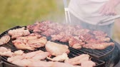 meat dish : Mans cooking chicken on barbecue grill outdoor in the summer. Fume from the grilled meat Stock Footage