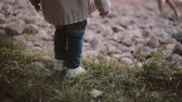 seixo : Close-up view of little boy s feet making steps on a grass. Mother waiting son in the distance. Vídeos