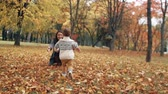 vinha : cute little boy running through the amazing autumn alley in the park came into the arms of his beautiful mother slow mo