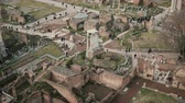 ruína : Panorama of Rome in Italy with Arch of Septimius Severus, antique monuments, columns, the House of Vestals.