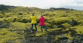 vulcão : Aerial view of two woman standing on the lava field in Iceland and enjoying the landscape. Tourists after hiking. Stock Footage