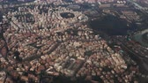 church : Aerial view of the beautiful panorama of Rome, Italy. Filming from the plane, famous capital from the air.