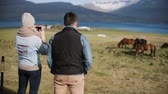 excursão : Young couple visiting the farm to choosing animal. Woman taking pictures of beautiful Icelandic horses on a field.