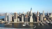downtown : Aerial view of the Manhattan district on the shore of the East river in New York, America in sunny day. Stock Footage