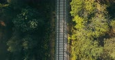 életmód : Aerial view of train tracks in autumn forest. Concept of challenging life journey, way to the future, chasing dreams. Stock mozgókép