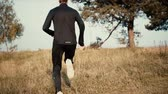 мотивированы : Slow motion man running up on grass hill. Low angle back view. Young male wandering on autumn countryside landscapes. Стоковые видеозаписи