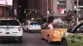 Нью Йорк : NEW YORK, USA, 18.08.2017 View of Time square in New York, America. Cars riding through the traffic downtown in evening.