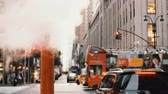 cottura a vapore : Close-up view of steam smoke pipe in downtown, on traffic road in New York, America. Filmati Stock