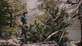 雄大な : Side view young local girl hiking with backpack among beautiful rocks at Yosemite national park forest lake slow motion. 動画素材