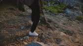 雄大な : Back high angle view of tourist girl hiking down on steep forest hill with stones, exploring Yosemite park slow motion.