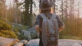 雄大な : Back view excited female tourist with backpack enjoying amazing sunset at forest rock creek, Yosemite park slow motion.