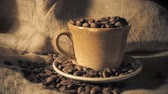 sleepy : Coffee cup and coffee beans Stock Footage