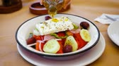 diet : Greek Salad Preparing. Cooking. Healthy Food.